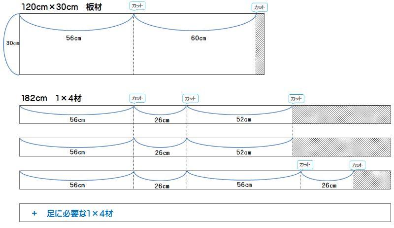 60cm水槽台材料カット図面