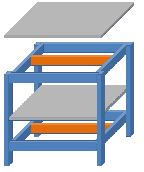 2段水槽台の組み立て設計