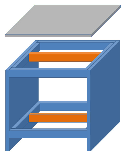 側面の足材を板状の木材に変更した例