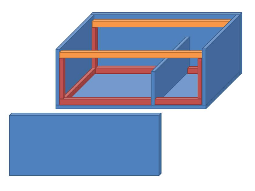 自作塩ビ水槽ろ過槽の設計補強図