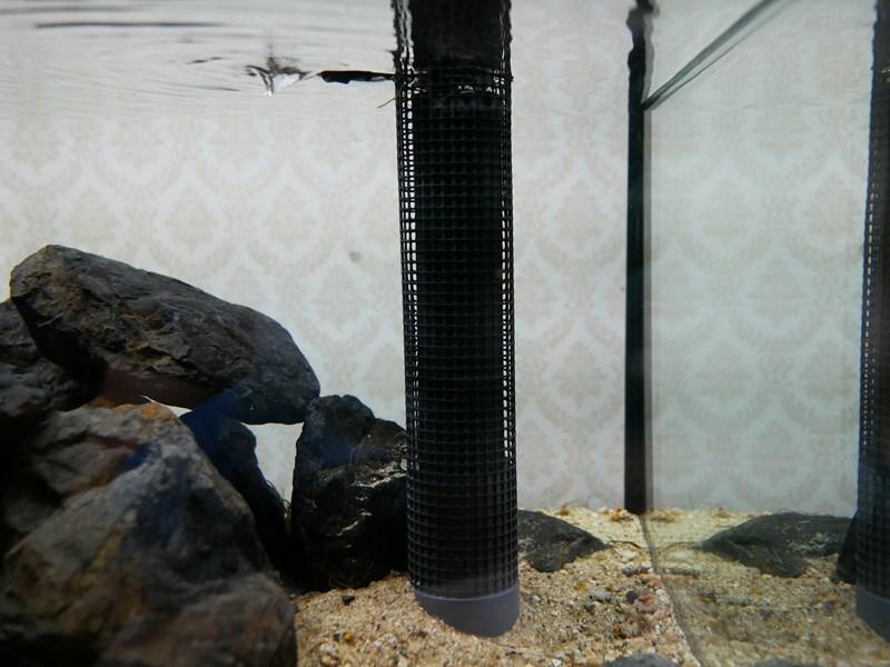 トリカルネットで吸い込み防止ネットをつくったオーバーフロー管