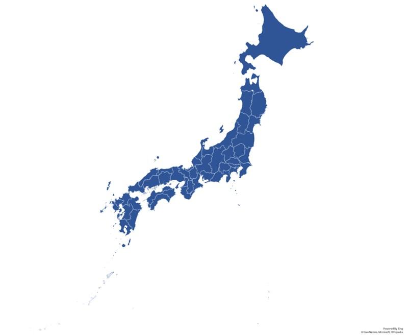 日本のドジョウの分布図